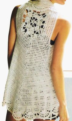 Сhaleco con círculo desde la espalda, pattern in spanish. Circle crochet vest
