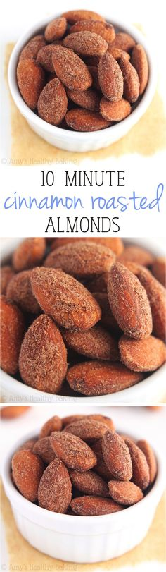 Cinnamon Roasted Almonds -- just 4 ingredients + 10 minutes to make this…