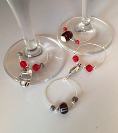 Ohio State Buckeye Wine Glass and Beer Mug Charms Wine Bottle Charms, Necklace Ideas, Ohio State Buckeyes, Wine Glass, Silver Plate, Beer, Charmed, Gift Ideas, Mugs