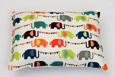 Elephant Carnival Baby/Toddler Pillow by tinytweets on Etsy