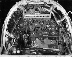 [Photo] Close-up view of a Lightning aircraft cockpit, 23 Dec note the yoke rather than stick control and the bullet proof glass panel above the instrument panel. Photo 2 of Lightning Aircraft, Lockheed P 38 Lightning, Ww2 Aircraft, Fighter Aircraft, Flight Deck, World War Two, Wwii, Military, Bullet
