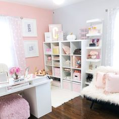 Ideas home office organization bedroom craft rooms for 2019 Cozy Home Office, Home Office Space, Home Office Design, Home Office Decor, Home Decor, At Home Office Ideas, Pink Office Decor, Study Room Decor, Cute Room Decor