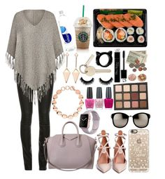 """""""Christmas shopping"""" by bee-farrell on Polyvore featuring Givenchy, Valentino, Casetify, Linda Farrow, Links of London, OPI, black, grey, leatherpants and poncho"""