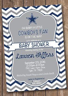 Dallas Cowboys Inspired Football Baby Shower Invitation