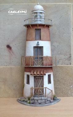 Clay Pot Lighthouse, Jumping Clay, Sea Sculpture, Wooden Lanterns, Roof Tiles, Terracotta Pots, Old Wood, Garden Art, Decoration