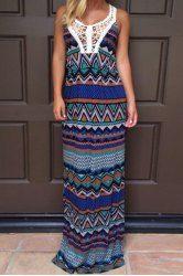 Bohemian Scoop Neck Crochet Flower Spliced Printed Sleeveless Maxi Dress For Women