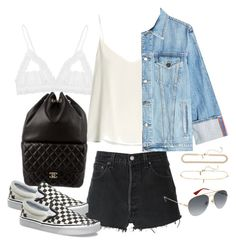 """Untitled #3502"" by camilae97 ❤ liked on Polyvore featuring Hanky Panky, RE/DONE, Raey, Frame, Chanel, Vans, Gucci and Topshop"
