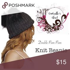 Charcoal Gray Double Pom Pom Beanie Add a little fun to your winter wardrobe with this adorable Double Pom Pom Knot Beanie.   ▪️ One Size Fits Most ▪️ 100% Acrylic ▪️ Stretchable Accessories Hats