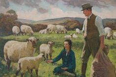 Springtime Signed Gunning King.   #sheep #lambs #farmer #farms #canvas #oilpaintings #art #artwork #traditional #classic #vintage #gallery #artforsale