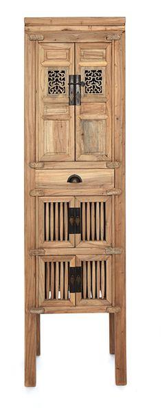 Armario de Rejilla 2 puertas de madera de Olmo. Medida 50L X 36F X 173h  Disponible en otros acabados y medidas