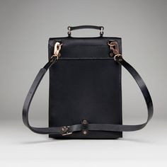 Alfie Douglas Alfie Six - BackpackShoulder bagBriefcaseCross-bodyPannier Bag- black leather- handmade in England.