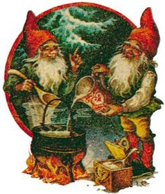 Gnomes cooking Christmas porridge