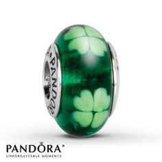 Jared - Pandora Charm Green Clover Glass Sterling Silver...