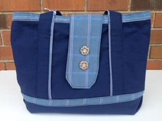 Navy and Powder Blue Purse (334) by MothersApronString on Etsy