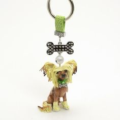 Dog Lover Keychain Chinese Crested Dog Clay Sculpted Gift 00011 | madamepomm - Dolls & Miniatures on ArtFire