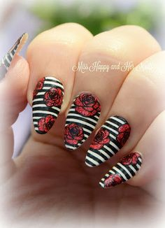 Stripes and roses stamping nails