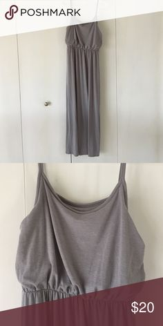 Grey jersey maxi dress Very flattering maxi dress, high waisted, almost empire, elastic waistband and double layered top so could be worn w/out a bra. Material is soft and fluid but not at all sheer. Cotton/viscose (I think). Mossimo Supply Co. Dresses Maxi