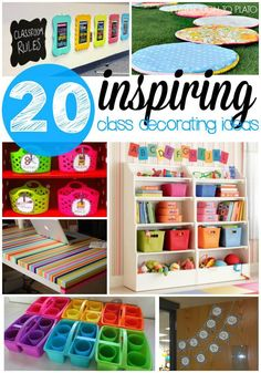 20 Inspiring Classroom Decoration Ideas - Playdough To Plato- 20 inspiring class decoration ideas and projects. Colorful ways to store class supplies, brighten up dark spaces… tons of stuff! Math Classroom Decorations, Kindergarten Classroom Decor, Classroom Setting, Classroom Setup, Classroom Design, In Kindergarten, Preschool Door, Classroom Libraries, Toddler Classroom