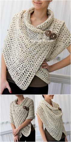 Check out Best and Stylish Crochet Pattern Designs? Crochet Poncho Patterns, Crochet Cardigan Pattern, Crochet Scarves, Crochet Shawl, Crochet Clothes, Hat Patterns, Thread Crochet, Diy Crochet, Crochet Crafts