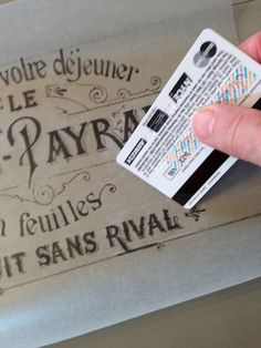 Wax paper transfer with credit card