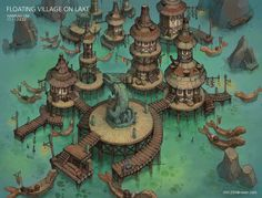 ArtStation - Floating villge on lake , IML (Lim hannah) Fantasy City Map, Fantasy Places, Fantasy World, Fantasy Concept Art, Fantasy Artwork, Construction Minecraft, Dungeons E Dragons, Rpg Map, Dungeon Maps