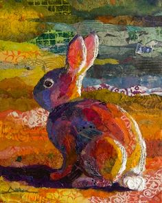 Torn paper collage paintings Dusk Bunny Rabbit Althea Sassman