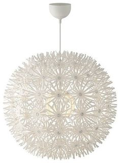 pendant lamp from ikea, it's like a papery plastic material and it creates pretty reflections on the ceiling. This is what I want in my new room
