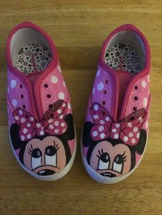 Hand Painted Minnie Mouse Shoes by BurlapBelleBowtique on Etsy