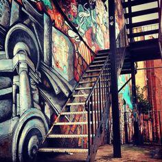 #Manchester, Northern Quarter Stair Case industrial stairway (by unknown)