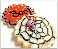 Halloween Cookies Spider & Boo Iced by SugarMeDesserterie on Etsy