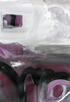 Abstract piece with dark, moody tones in black, grey, and purple.