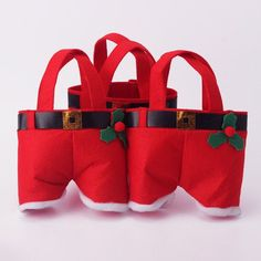 Christmas Santa Pants Shape Non-woven Fabrics Creative Storage Bags  - Gchoic.com
