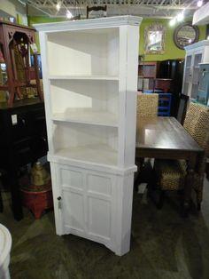 "Beautiful White Corner Cabinet  A194 - $500  32""W x 19""D x 72""H  #NadeauNashville"