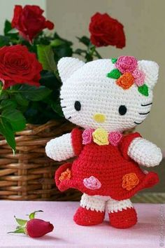 Hello Kitty Amigurumi Pattern/Charts + links to other Hello Kitty Crochet. Grab this Super Cute FREE Hello Kitty Amigurumi Crochet Pattern. Browse more Hello Kitty Patterns and many other Genres Lovely pattern to crochet your own Hello Kitty amigurumi, in Crochet Diy, Crochet Amigurumi, Amigurumi Patterns, Amigurumi Doll, Crochet For Kids, Crochet Crafts, Crochet Dolls, Crochet Projects, Knitting Patterns
