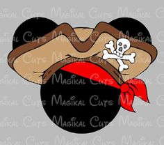 Pirate with Hat and Bandana Mouse Ears SVG, Studio, EPS, and JPEG Digi – Magikal Cuts