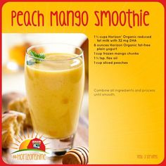 Peach mango smoothie no banana Yummy Smoothie Recipes, Mango Recipes, Healthy Smoothies, Yummy Drinks, Healthy Drinks, Yummy Food, Peach Mango Smoothie, Juice Smoothie, Clean Eating