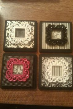 Vintage Victorian looking black, pink and white plaques. Cute wall decor ideas. Mini picture frames. Polka dots, stripes, Victorian pattern. Classy looking, small art for a girls or teens room.