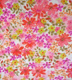 vintage fabric - flower power - crazy daisy