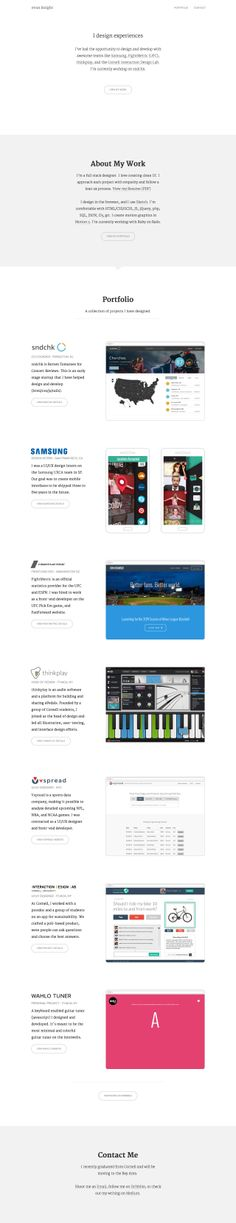 Responsive one page portfolio redesign for UI/UX designer, Evan Knight. It's very clean and I'm loving that Merriweather with the thin weight, super crisp.
