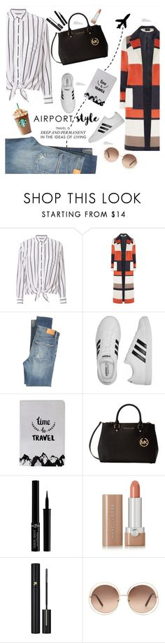 """""""Jet Set: Airport Style"""" by soranamikaze ❤ liked on Polyvore featuring Equipment, Dorothy Perkins, Citizens of Humanity, adidas, Michael Kors, Giorgio Armani, Marc Jacobs, Lancôme and Chloé"""