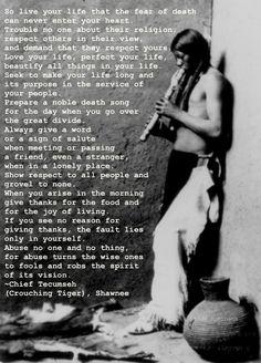 The Chief Tecumseh poem that Maynard read on the Joe Rogan Experience