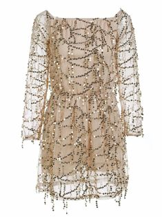 Stylish Sequined Off The Shoulder Long Sleeve Dress For Women in Golden | Sammydress.com