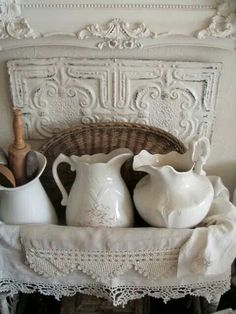 I adore old white pitchers