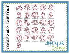 """Cooper Applique Font These letters come in  3"""", 4"""", 5"""", 6"""" sizes"""