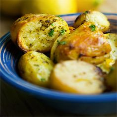 Delicious Greek roasted lemon potatoes.Simple recipe, easy step by step photography.