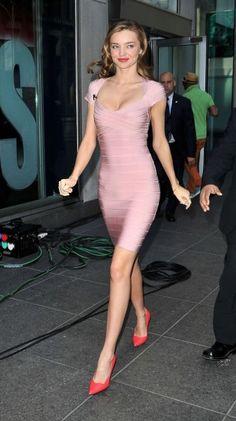 29 Awesome Looks with Herve Leger Dress glamhere.com Bandage Dresses Miranda Kerr Style Miranda Kerr1 G?rgeus Dresses Herve Leger Dress Mirranda Kerr Pink Fashion