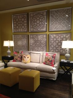 CR Laine Room with Soicher Marin Artwork...Fab! ( frame wallpaper in big frames to get this look)