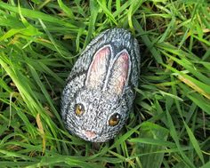 Rabbit Rock, Hand Painted Stone, Grey Hare, Rabbit Painting, Garden Decor, Animal Art, Pet Lover, Wildlife Painting, Rock Painting, Rabbit by JeannesJungle on Etsy