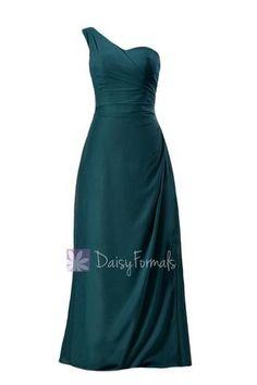 e55f537d683a Elegant Floor Length Chiffon Bridesmaid Dress One Shoulder Teal Formal  Dress(BM7872) – DaisyFormals