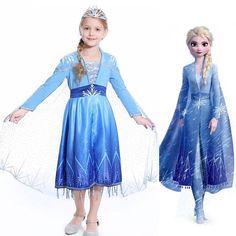 Princess Elsa Fancy Dress Cosplay Party Girls Costume Blue 100 to Frozen 2 Elsa Dress, Elsa Fancy Dress, Princess Fancy Dress, Queen Costume, Princess Costumes, Costume Dress, Girl Costumes, Joker Cosplay Costume, Frozen Costume